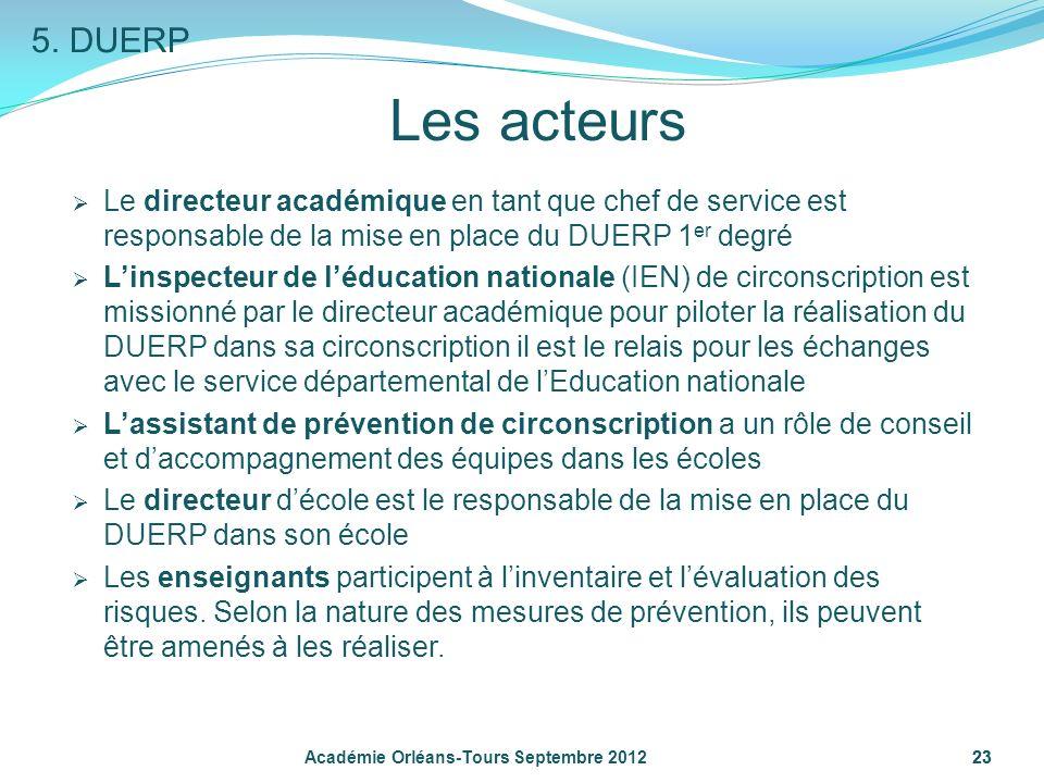 5. DUERP Les acteurs. Le directeur académique en tant que chef de service est responsable de la mise en place du DUERP 1er degré.