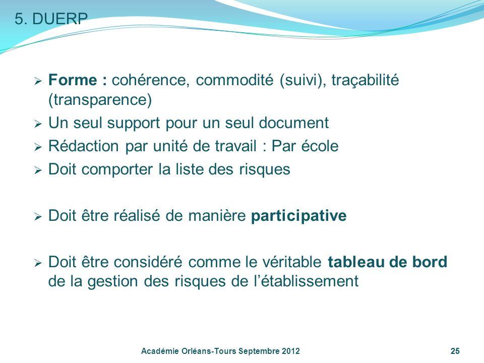 Forme : cohérence, commodité (suivi), traçabilité (transparence)
