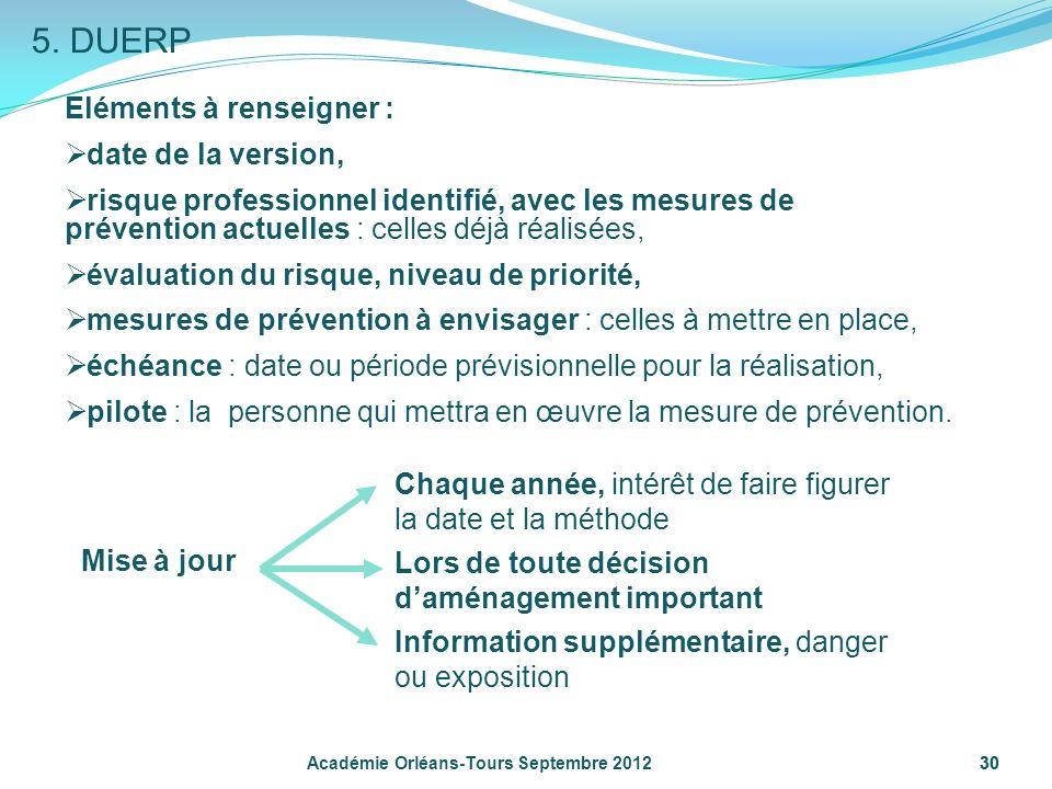 5. DUERP Eléments à renseigner : date de la version,