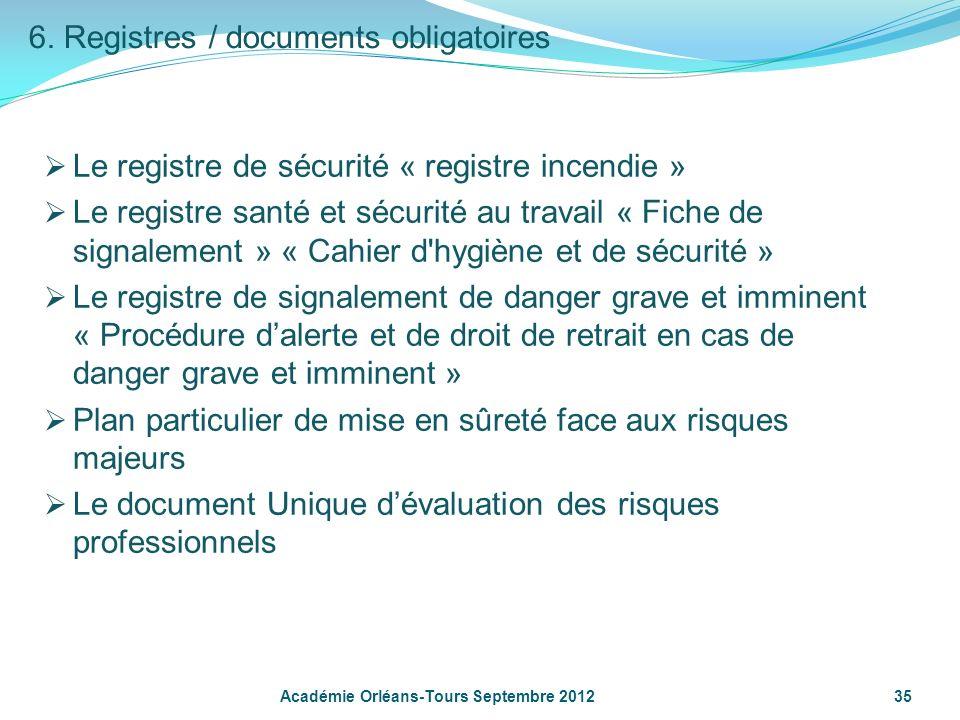 6. Registres / documents obligatoires