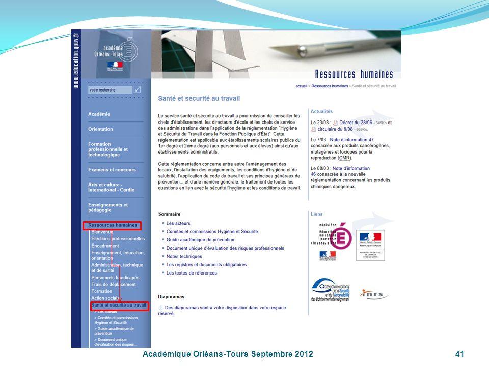 Académique Orléans-Tours Septembre 2012