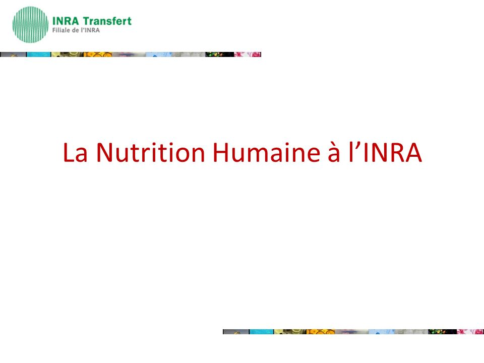 La Nutrition Humaine à l'INRA