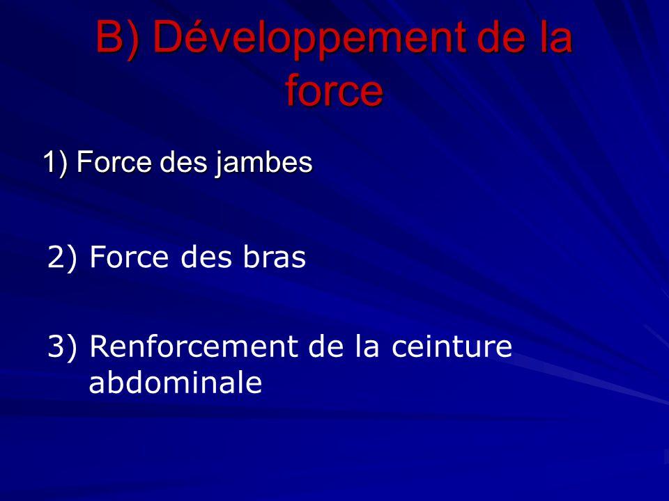 B) Développement de la force