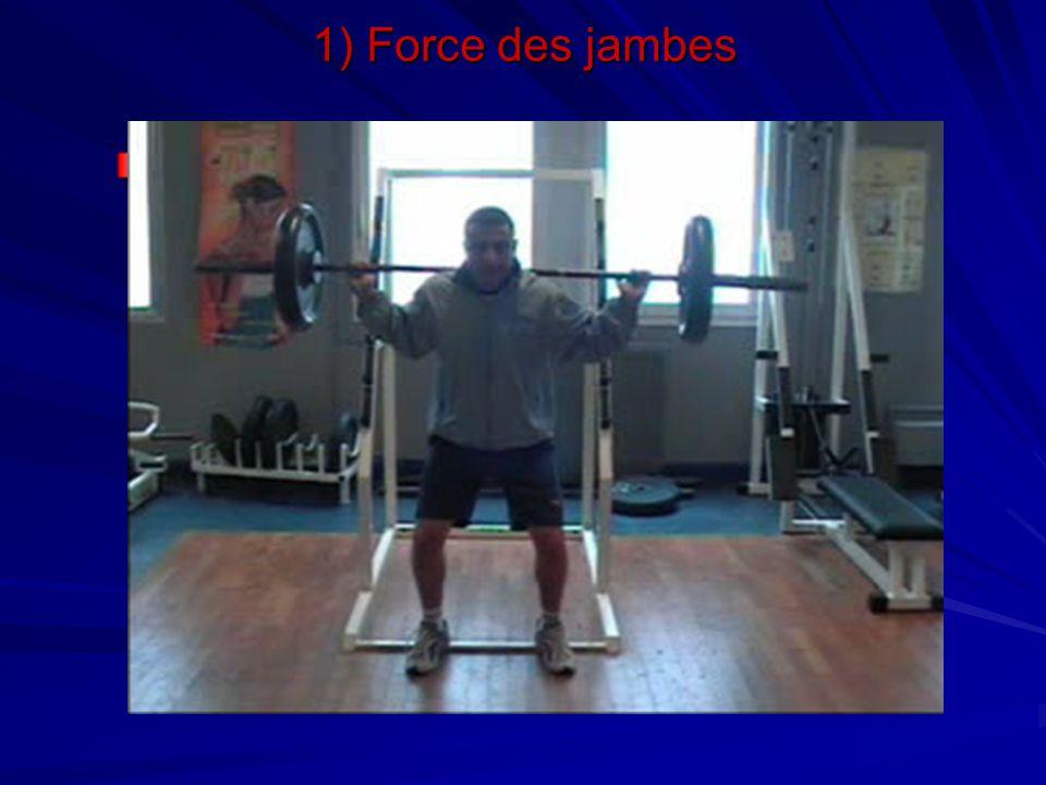 1) Force des jambes Travail en demi squat