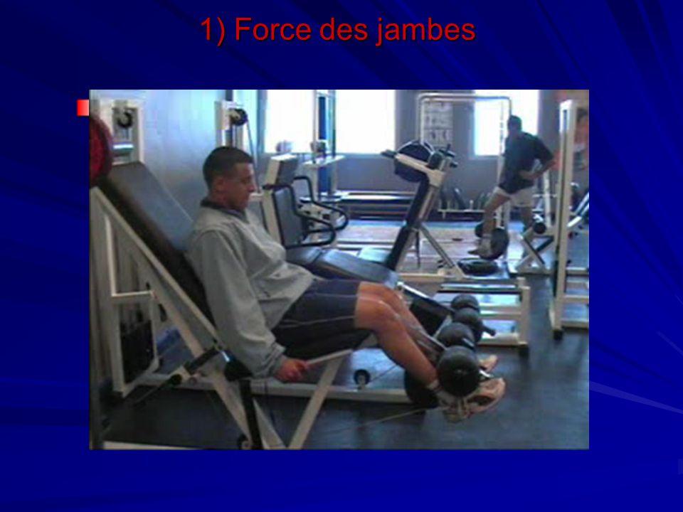 1) Force des jambes Travail des quadriceps