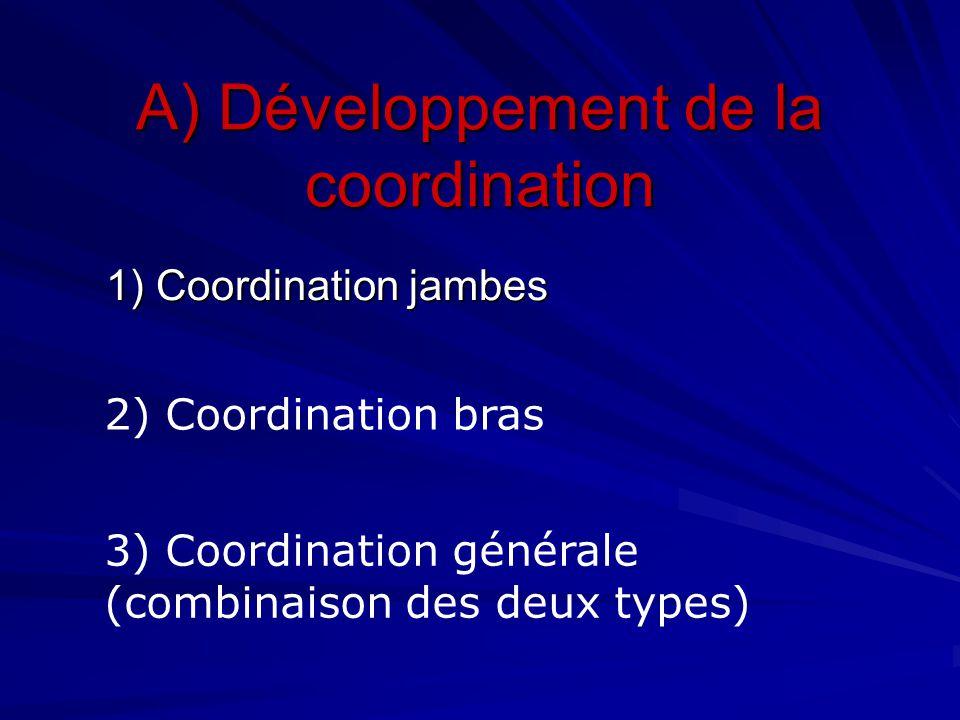 A) Développement de la coordination