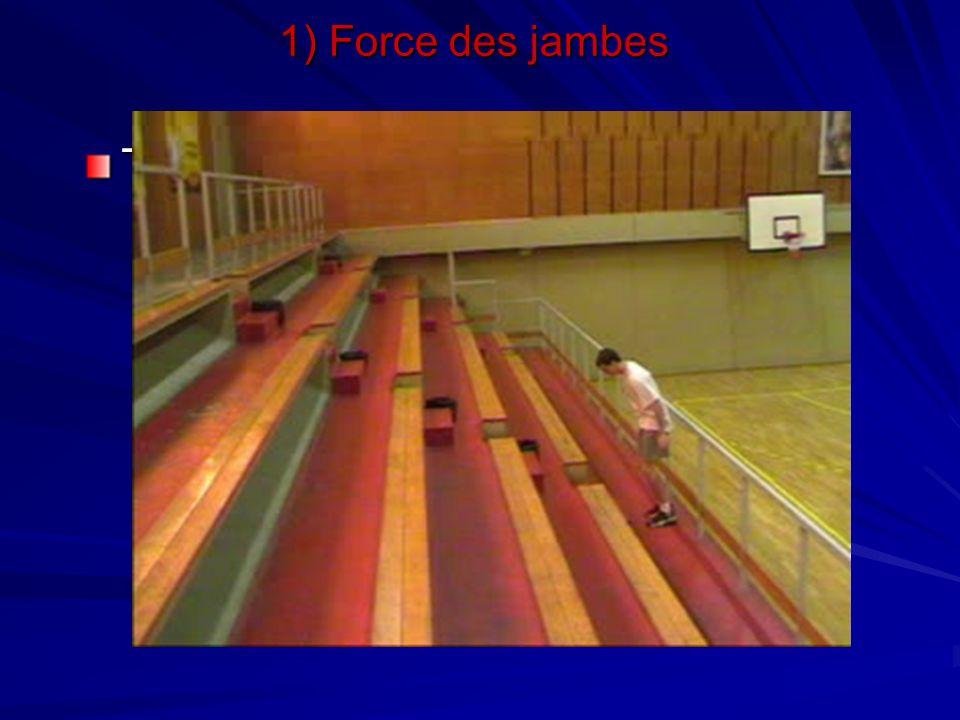 1) Force des jambes Travail dans les escaliers