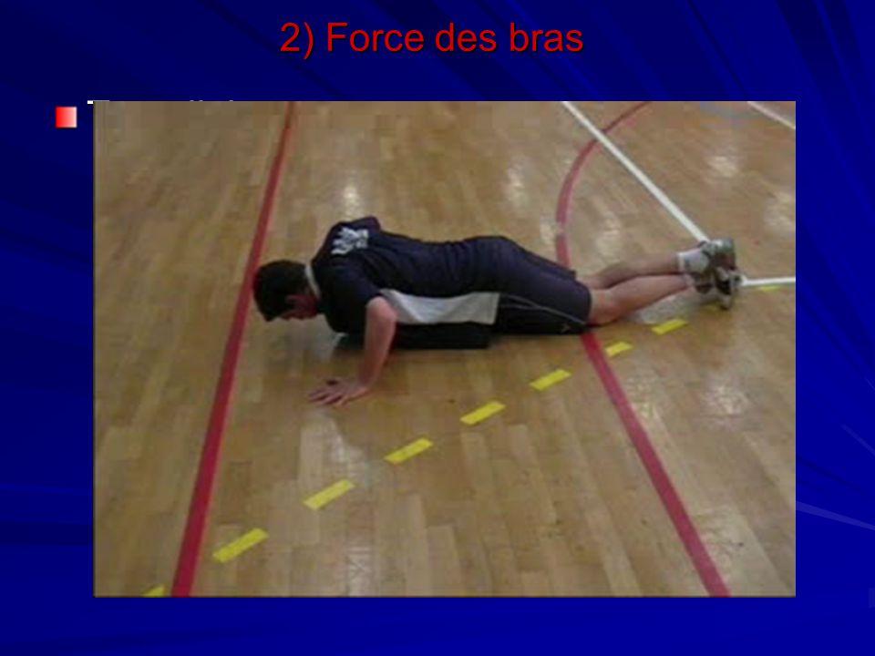 2) Force des bras Travail de pompes
