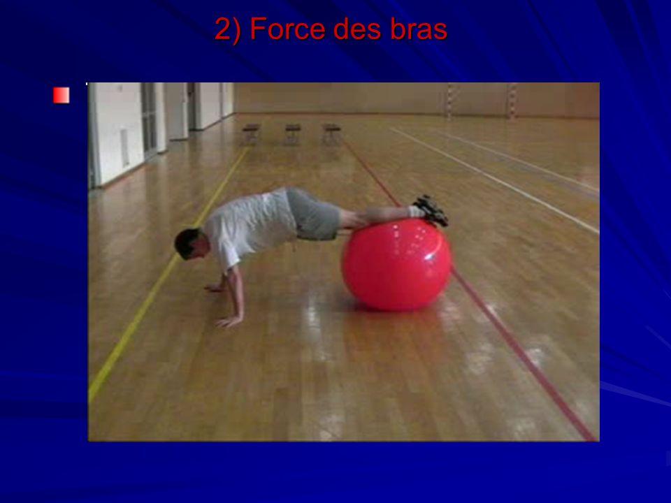 2) Force des bras Travail avec un swiss-ball