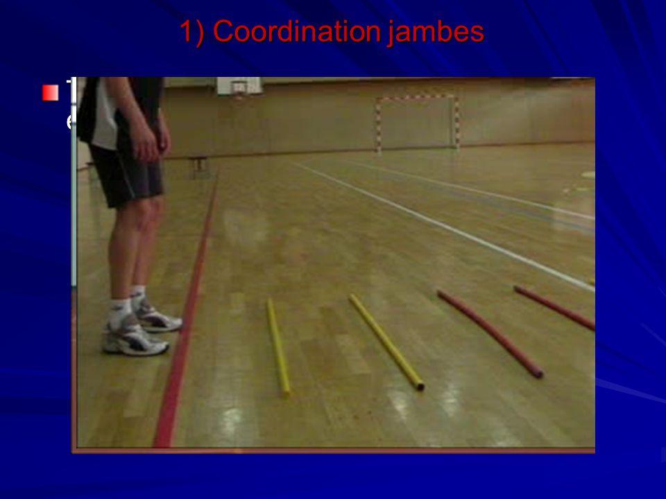 1) Coordination jambes Travail d'appuis avec des lattes espacées de différentes manière