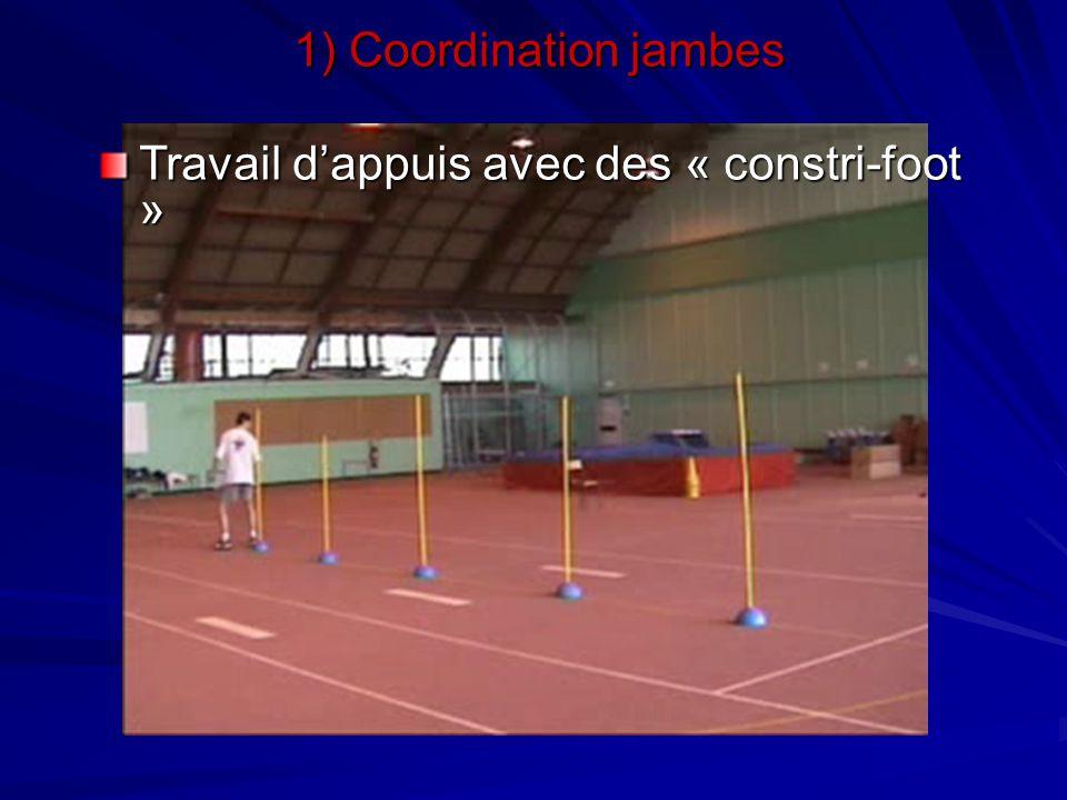 1) Coordination jambes Travail d'appuis avec des « constri-foot »