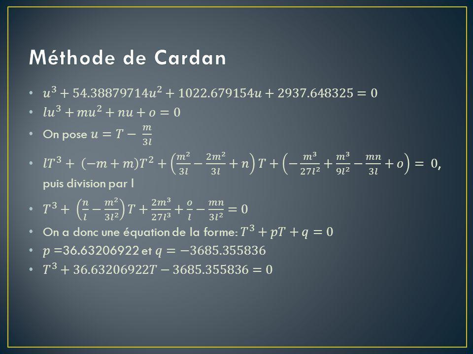 Méthode de Cardan 𝑢 3 + 54.38879714𝑢 2 +1022.679154𝑢+2937.648325=0