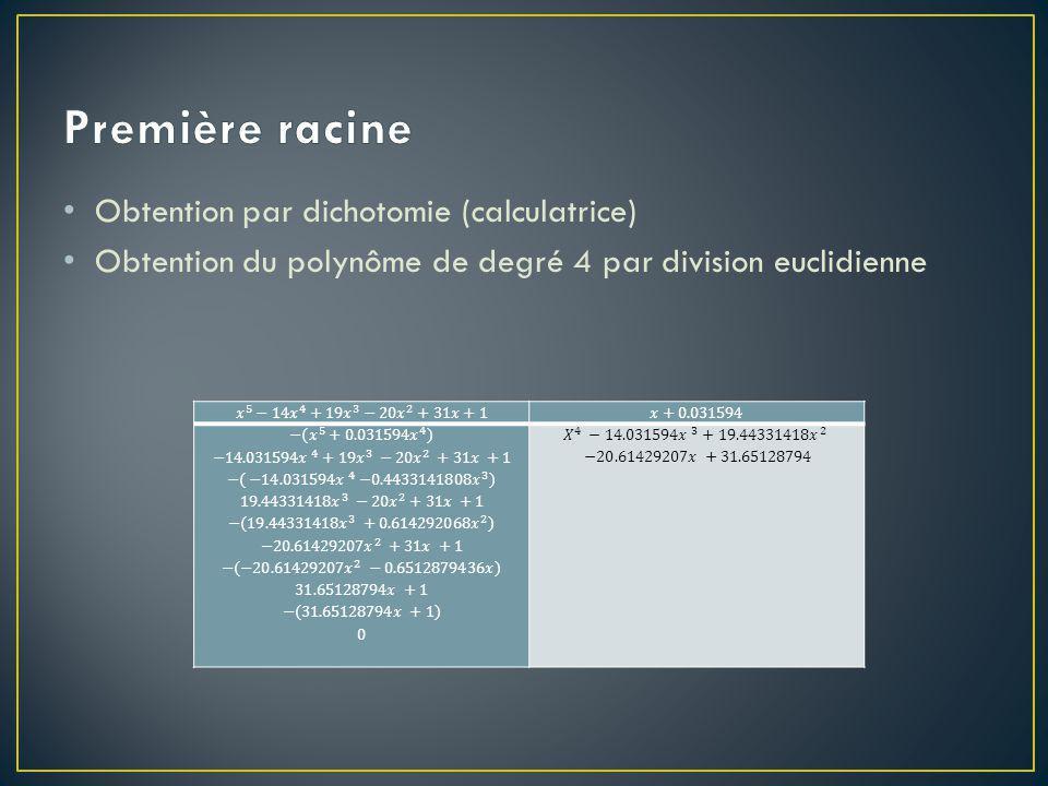 Première racine Obtention par dichotomie (calculatrice)