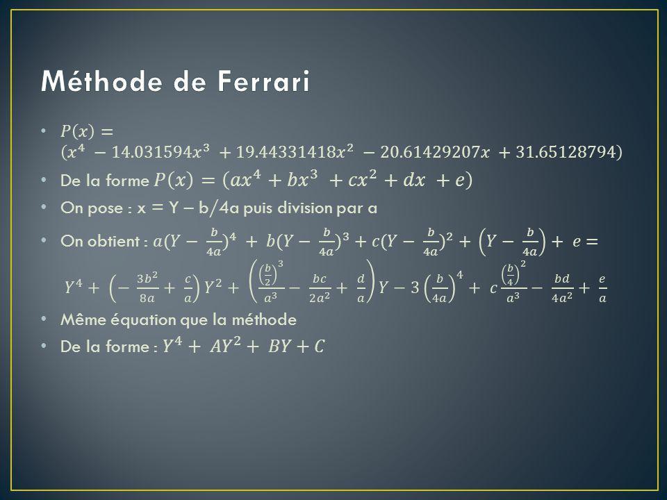 Méthode de Ferrari De la forme 𝑃 𝑥 = 𝑎𝑥 4 + 𝑏𝑥 3 + 𝑐𝑥 2 +𝑑𝑥 +𝑒