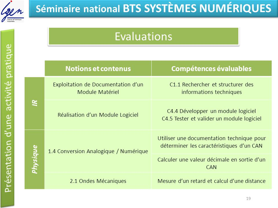 Séminaire national BTS SYSTÈMES NUMÉRIQUES Compétences évaluables