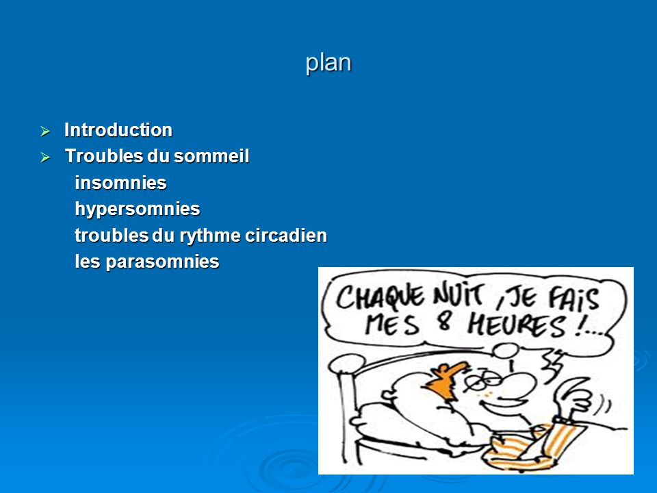 plan Introduction Troubles du sommeil insomnies hypersomnies