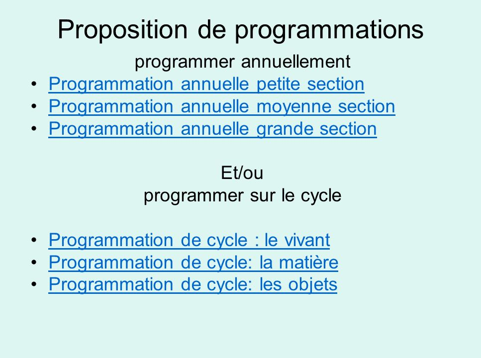 Proposition de programmations