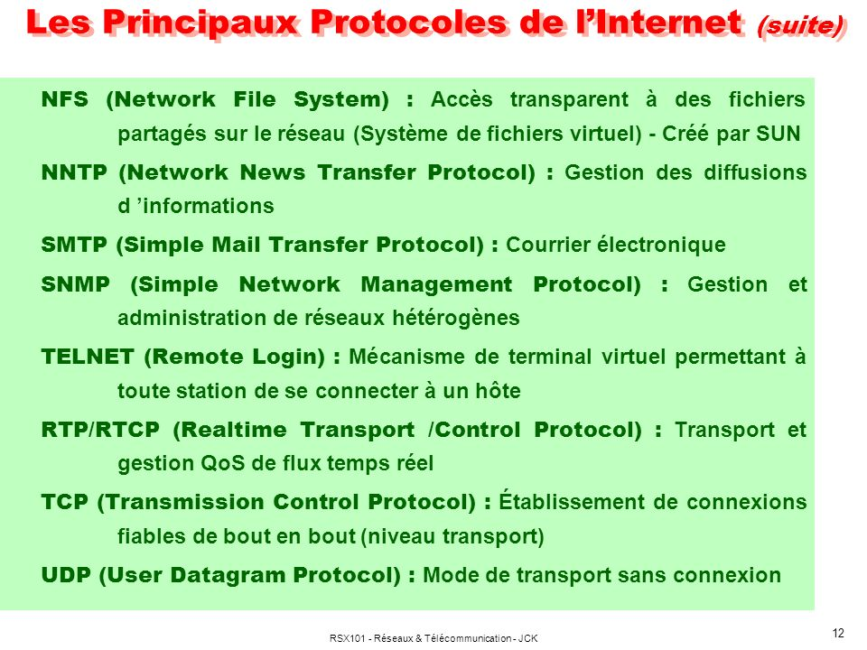 Les Principaux Protocoles de l'Internet (suite)