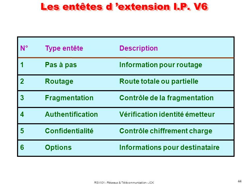 Les entêtes d 'extension I.P. V6