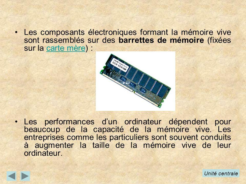 Les composants électroniques formant la mémoire vive sont rassemblés sur des barrettes de mémoire (fixées sur la carte mère) :