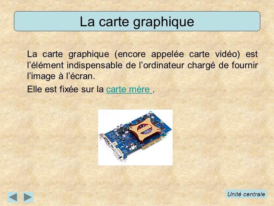 La carte graphique La carte graphique (encore appelée carte vidéo) est l'élément indispensable de l'ordinateur chargé de fournir l'image à l'écran.