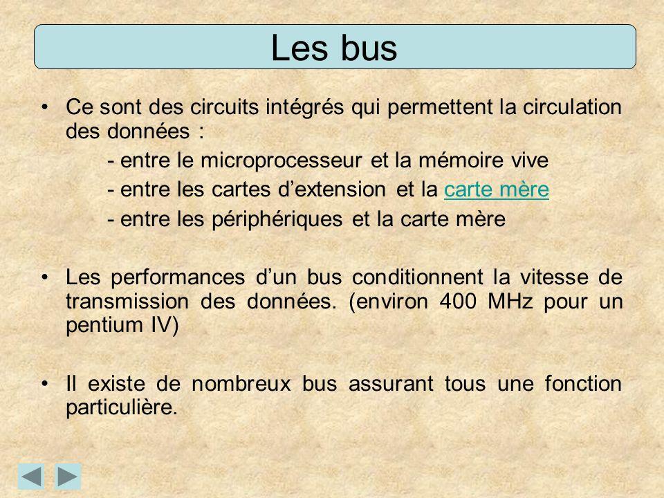 Les bus Ce sont des circuits intégrés qui permettent la circulation des données : - entre le microprocesseur et la mémoire vive.