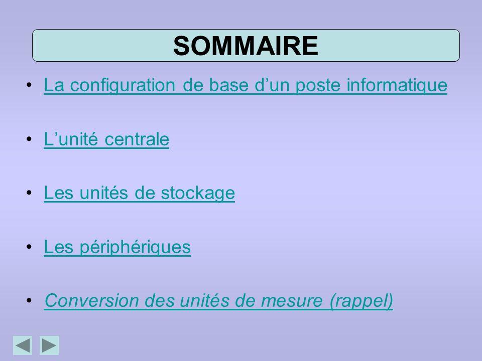 SOMMAIRE La configuration de base d'un poste informatique