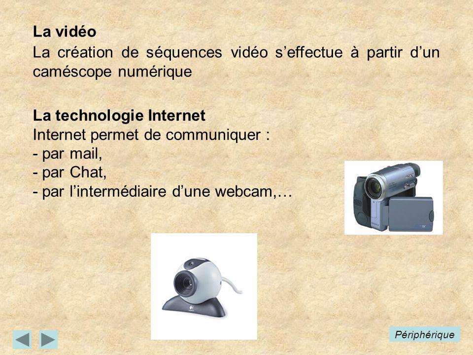 La technologie Internet Internet permet de communiquer : - par mail,