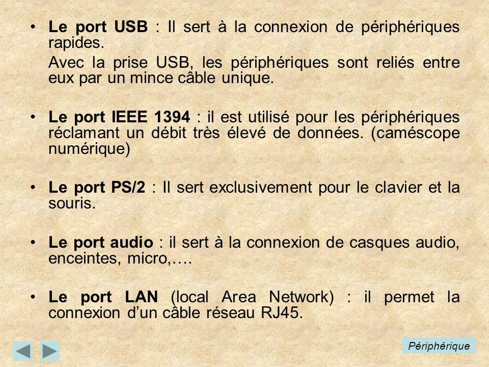 Le port USB : Il sert à la connexion de périphériques rapides.