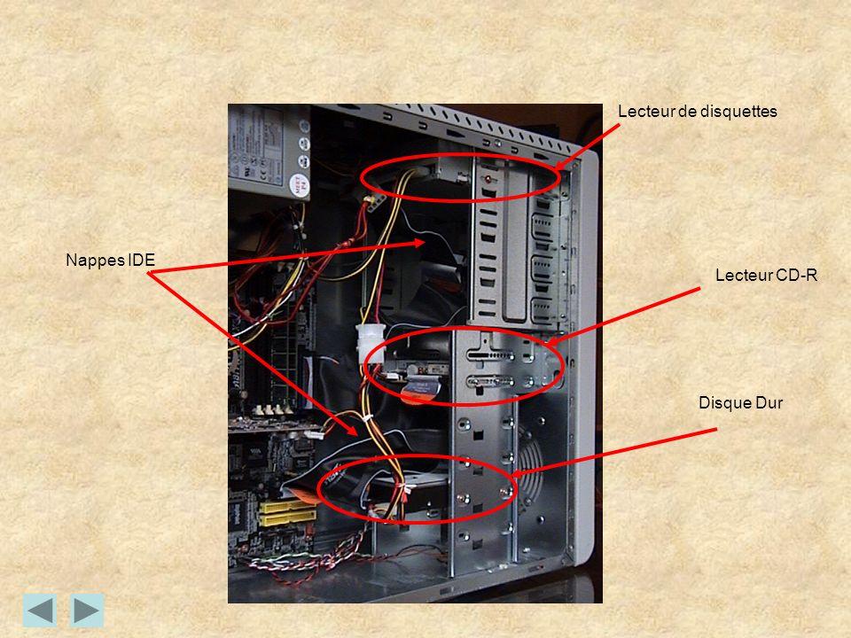 Lecteur de disquettes Nappes IDE Lecteur CD-R Disque Dur