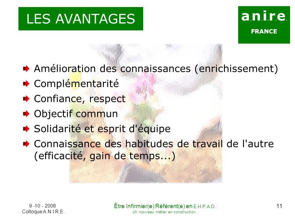 LES AVANTAGES a.n.i.r.e. FRANCE. Amélioration des connaissances (enrichissement) Complémentarité.