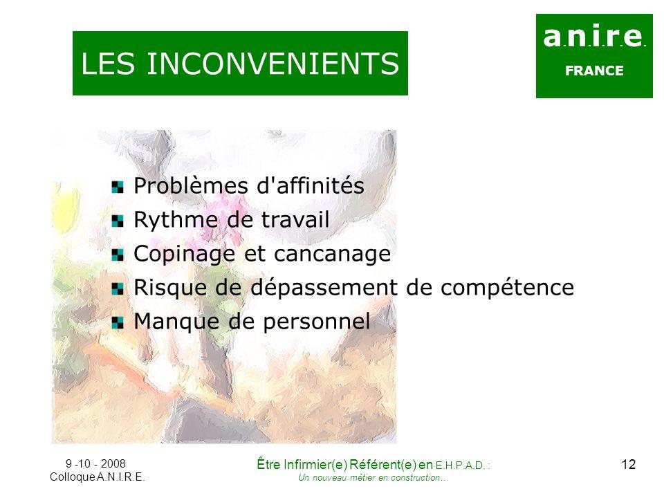 a.n.i.r.e. LES INCONVENIENTS Problèmes d affinités Rythme de travail