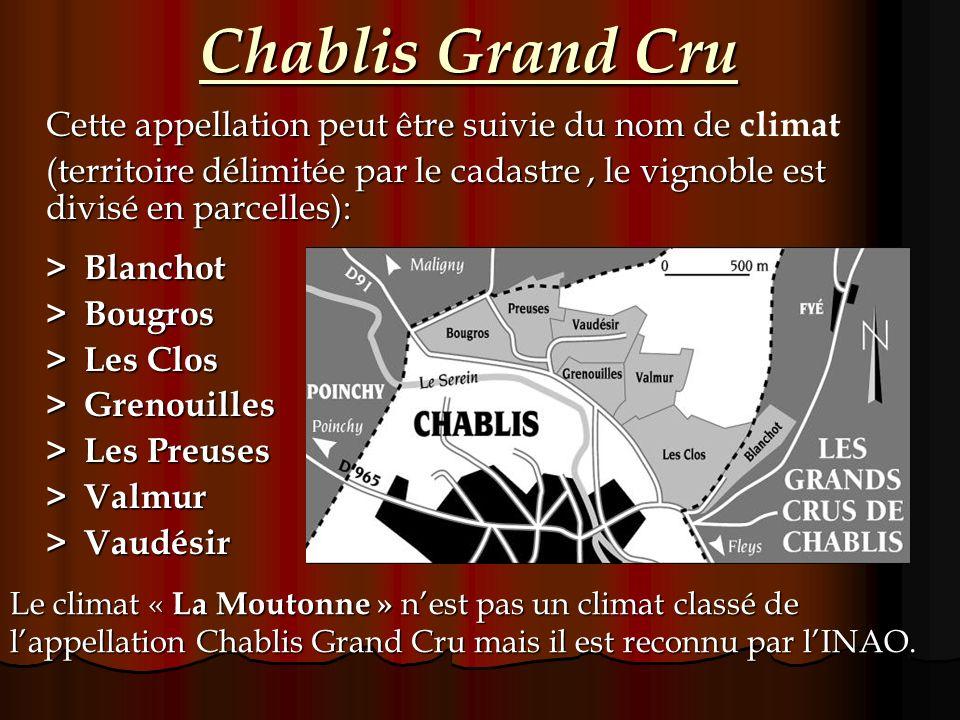 Chablis Grand Cru Cette appellation peut être suivie du nom de climat