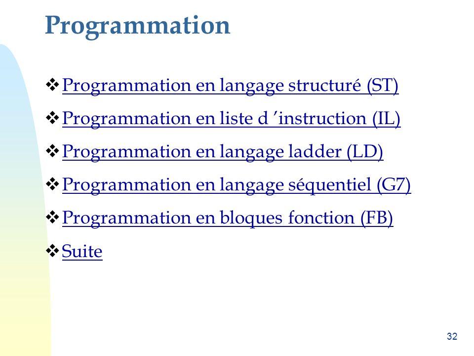 Programmation Programmation en langage structuré (ST)
