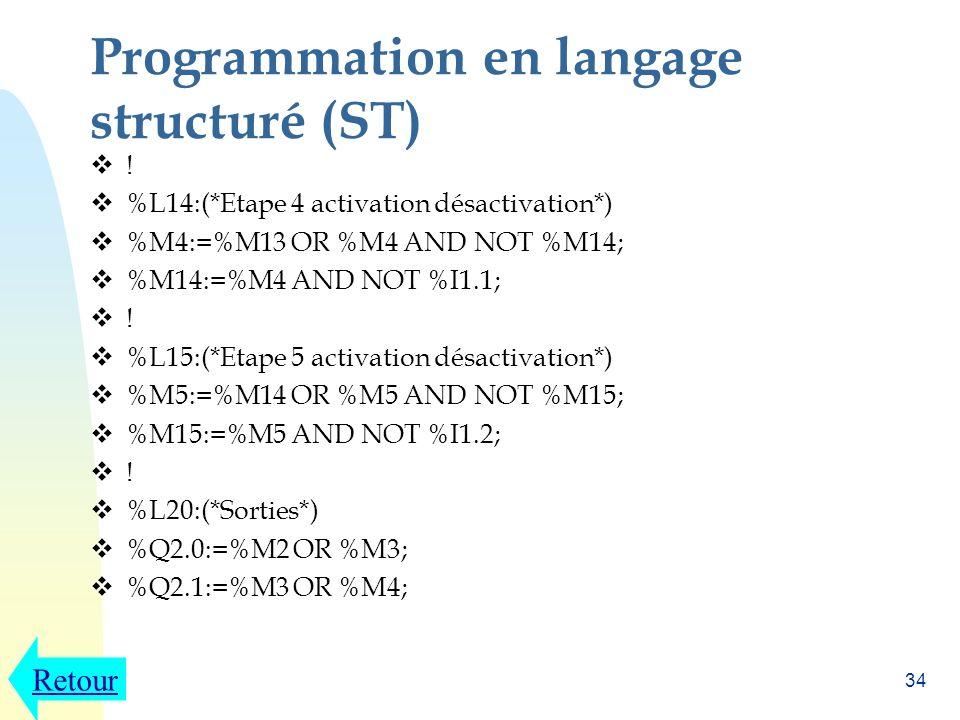 Programmation en langage structuré (ST)