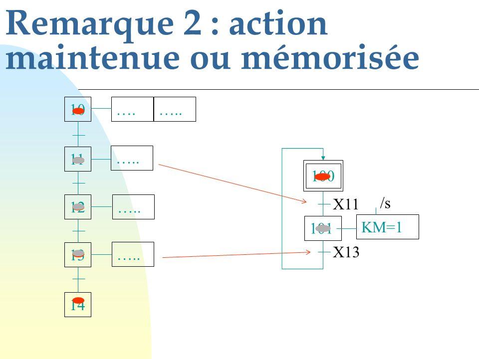 Remarque 2 : action maintenue ou mémorisée