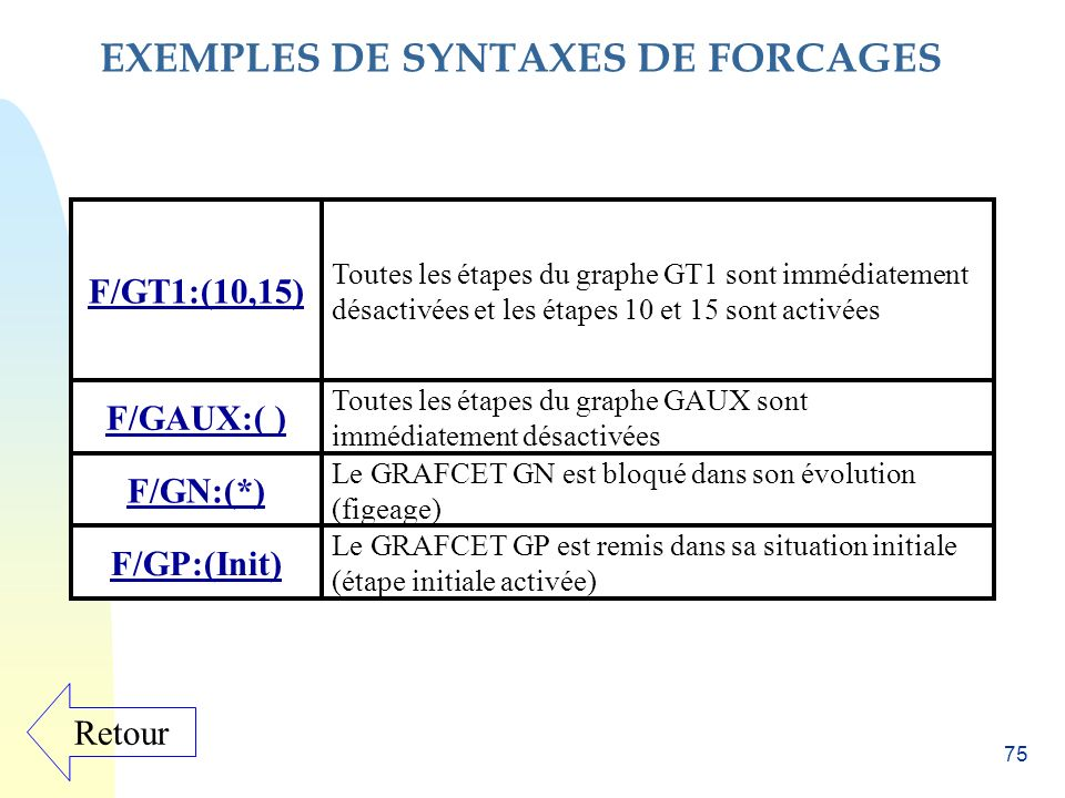 EXEMPLES DE SYNTAXES DE FORCAGES