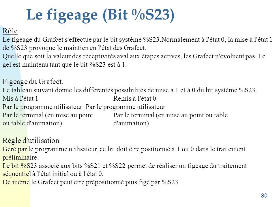 Le figeage (Bit %S23) Rôle Figeage du Grafcet. Règle d utilisation