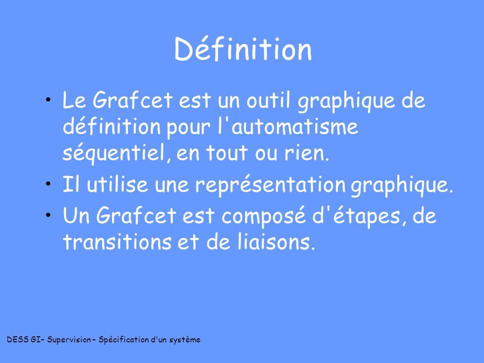 DéfinitionLe Grafcet est un outil graphique de définition pour l automatisme séquentiel, en tout ou rien.
