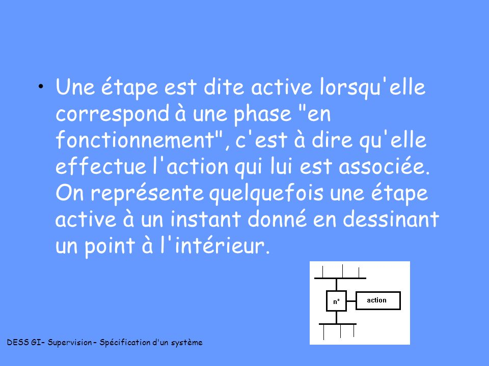 Une étape est dite active lorsqu elle correspond à une phase en fonctionnement , c est à dire qu elle effectue l action qui lui est associée.