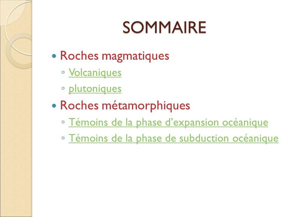 SOMMAIRE Roches magmatiques Roches métamorphiques Volcaniques