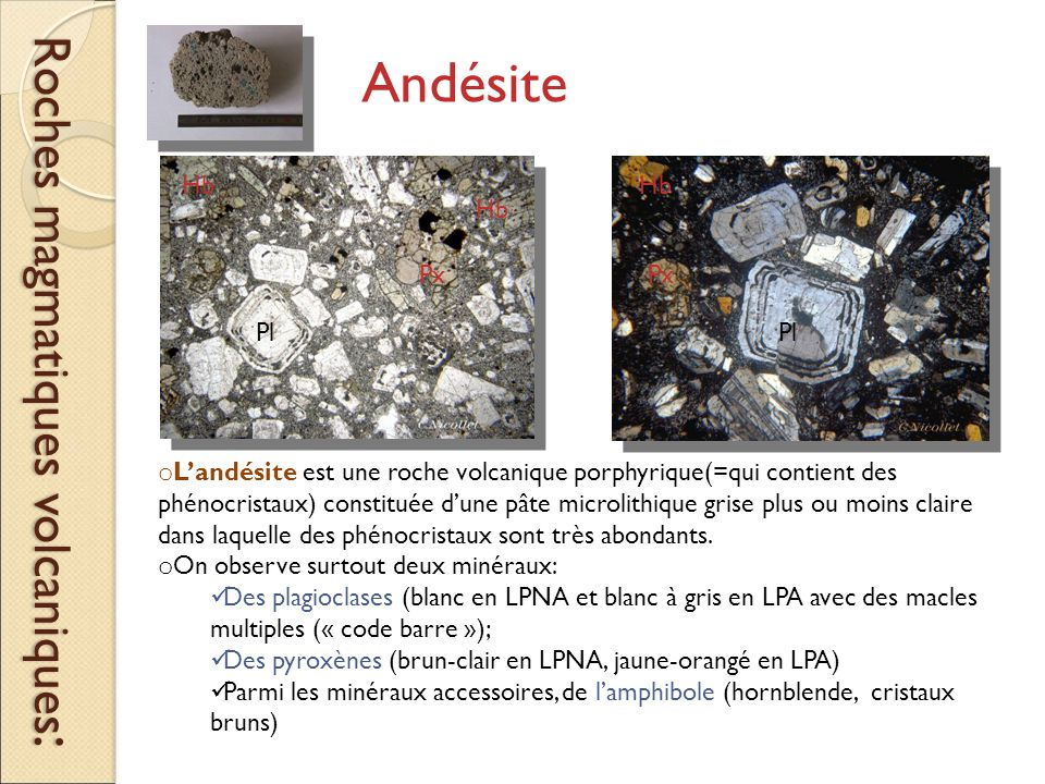 Roches magmatiques volcaniques: