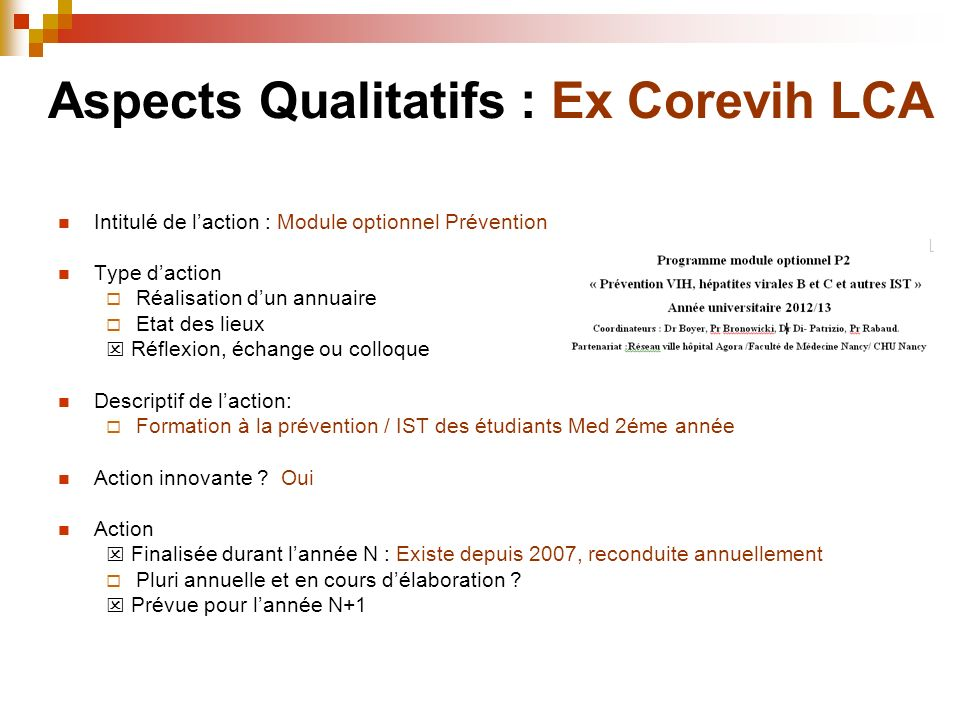 Aspects Qualitatifs : Ex Corevih LCA