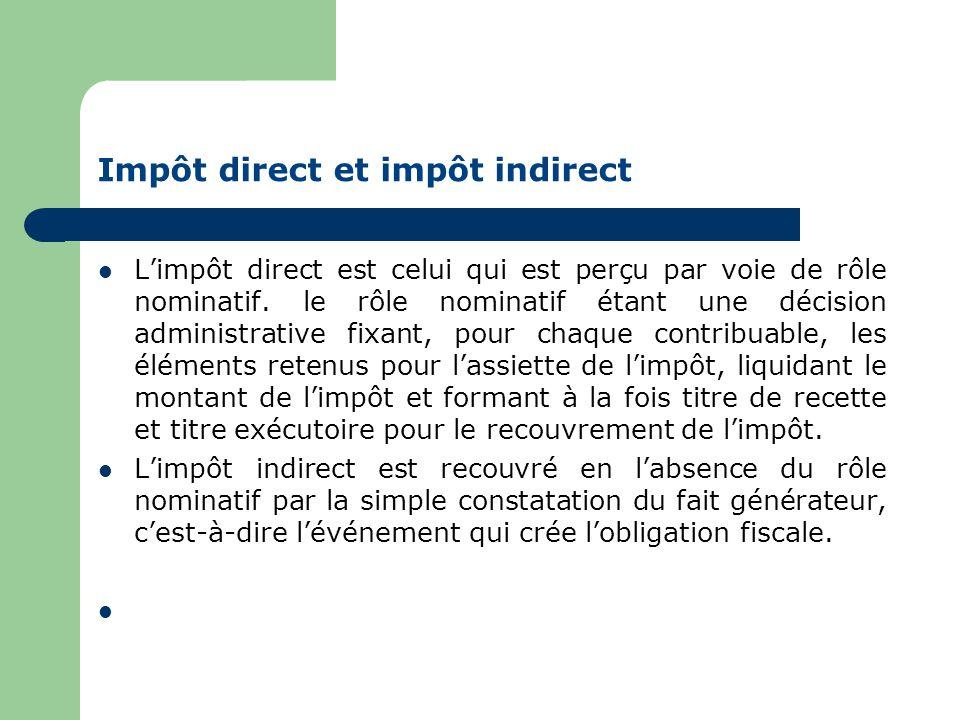 Impôt direct et impôt indirect