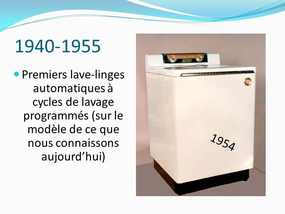1940-1955Premiers lave-linges automatiques à cycles de lavage programmés (sur le modèle de ce que nous connaissons aujourd'hui)
