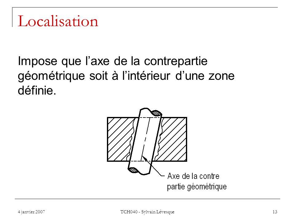 Localisation Impose que l'axe de la contrepartie géométrique soit à l'intérieur d'une zone définie.
