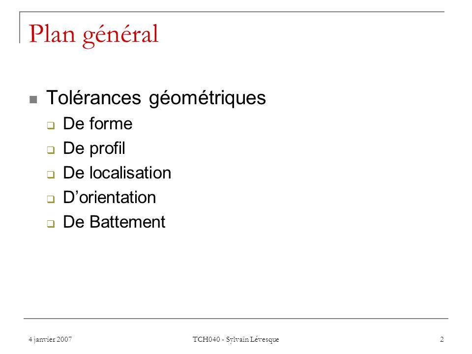 Plan général Tolérances géométriques De forme De profil