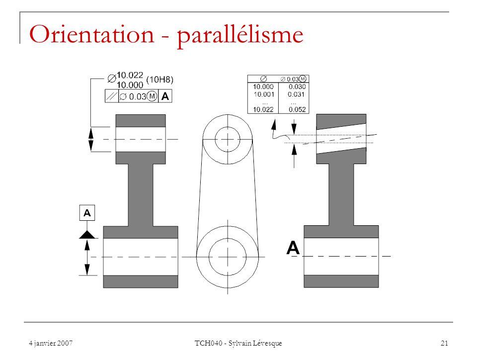 Orientation - parallélisme