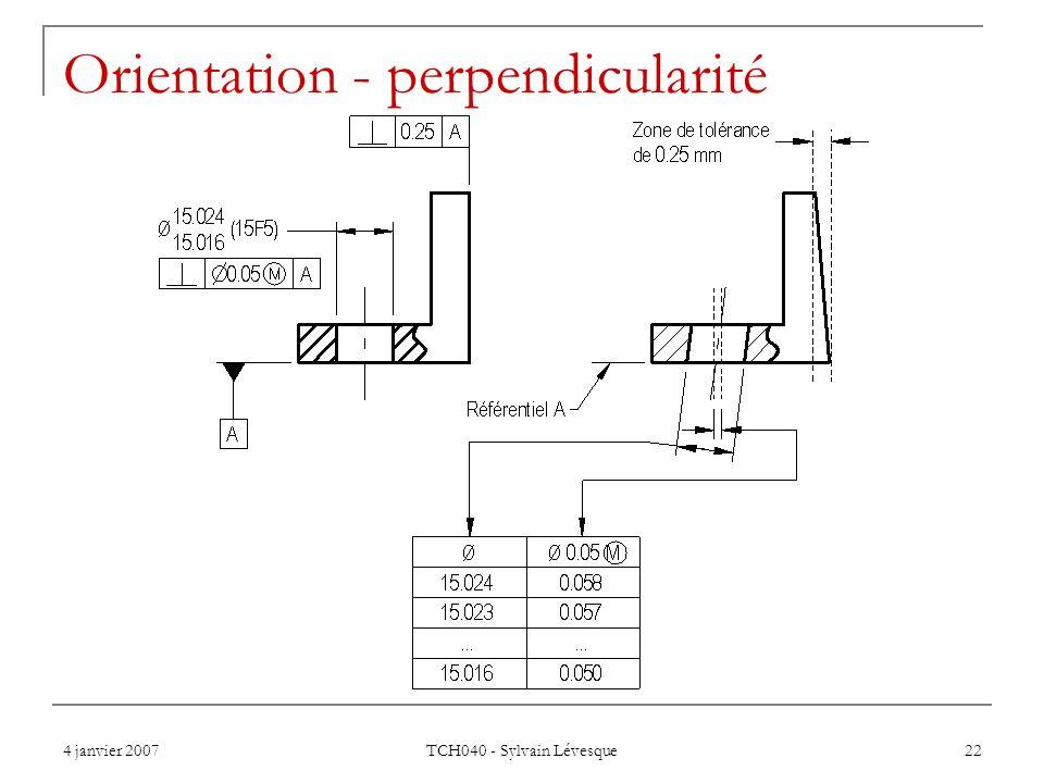 Orientation - perpendicularité