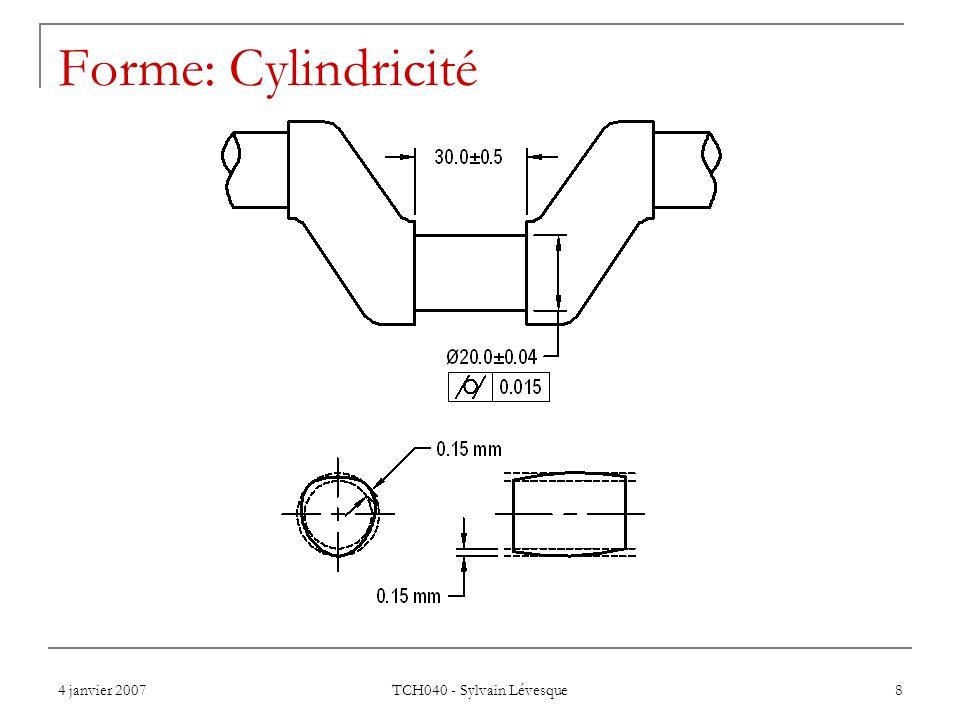 Forme: Cylindricité 4 janvier 2007 TCH040 - Sylvain Lévesque